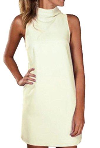 Fit Domple Mini Womens Tank Dress Sleeveless Shift Slim Color Solid White 1B1wqX