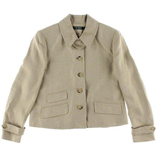 Cotton Blend Blazer (Lauren Ralph Lauren Womens Silk Blend Herringbone Four-Button Blazer Taupe 10)