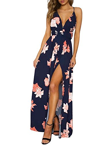 Simplee Women's Deep V Neck Backless Spaghetti Strap Floral Casual Maxi Dress, Navy Blue Print1, 1/7, Medium ()