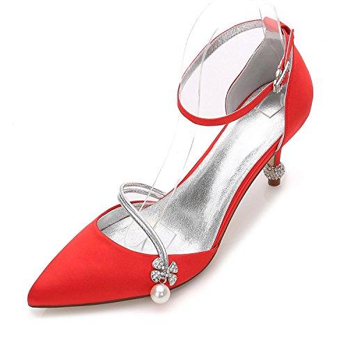 Bomba 29 de YC Básicos de Boda Para Mujer y Noche Cerrada Heel Cone Zapatos Boda 17767 Red L de Zapatos Verano v70g1nq1
