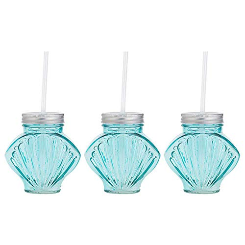 Amici Home 7CN386AS3R Seashell Glass Mason Jars, 16 Fluid Ounces Aqua (Seashell Glasses Drinking)