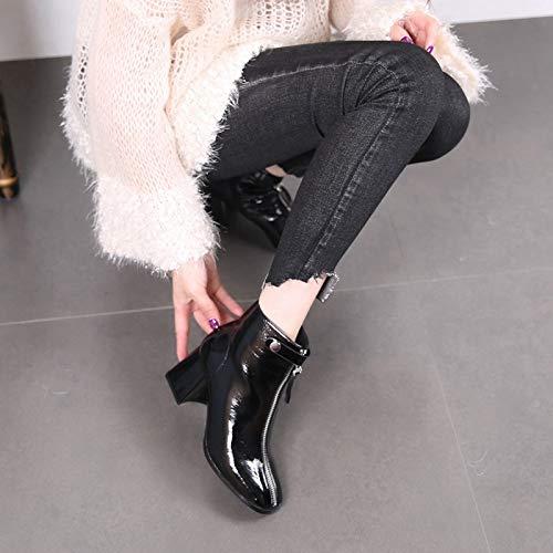 LBTSQ Damenschuhe Platz Kopf Kurze Stiefel Stiefel Stiefel Heel 6 cm Nahe Bei Bloßen Stiefel Winter Dicke Sohle 100 Sätze Samt Martin Stiefel  e9605c