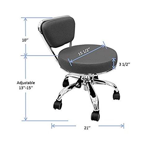 Salon Nail Pedicure Stool Pedicure Chair DAYTON BLACK Pneumatic, Adjustable, Rolling Salon Furniture & Equipment by MAYAKOBA (Image #2)