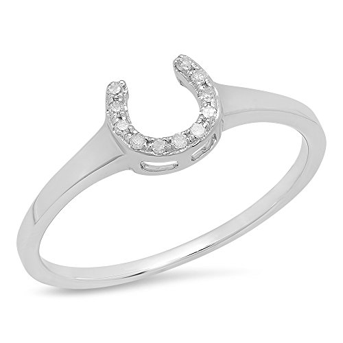 Horseshoe Ring Ladies Diamond (0.05 Carat (ctw) 14K White Gold Round White Diamond Ladies Horseshoe Eangagement Ring)