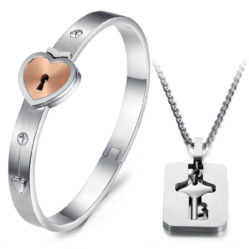 His and Hers Matching Set Couple Titanium Only You Have My Key Bangle Bracelet Simple Korean Style in a Gift Box - Heart Lock Bracelet