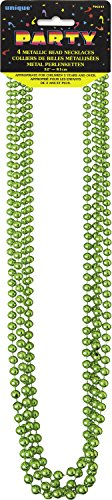 Metallic Lime Green Mardi Gras Beads, 4ct