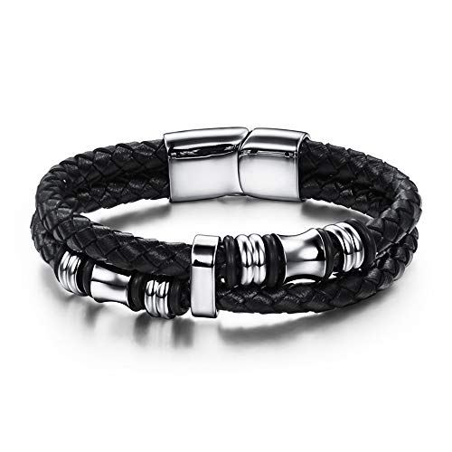 ASHMITA Mens Genuine Leather Bracelet Cuff Durable 316L Stainless Steel Magnetic Clasp Personality Bracelets