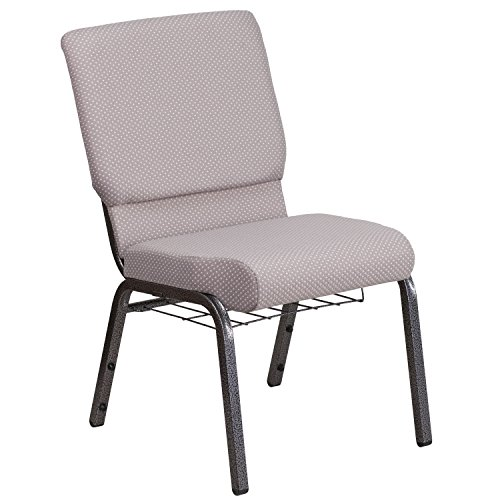 (Flash Furniture HERCULES Series 18.5''W Church Chair in Gray Dot Fabric with Book Rack - Silver Vein Frame)