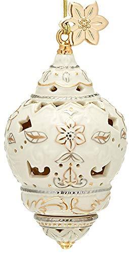Lenox Annual Xmas Ivory Pierced Spire Ornament Golden Poinsettia Tag Elegant Gift New in box