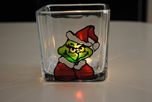 The Grinch Hand Painted Stained Glass Square Candle Holder, Christmas Holiday (Stained Glass Christmas Candles)