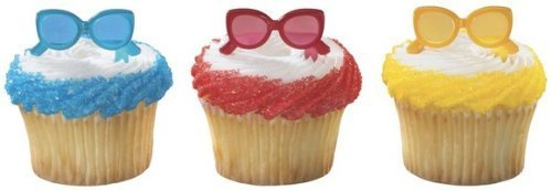 24 pc - Summer Fun Sunglasses Cupcake Picks