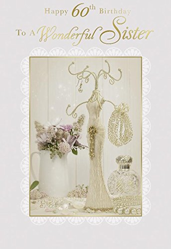 Happy 60th Birthday To A Wonderful Sister Jewellery Design Card