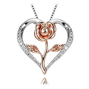 Klurent Heart Rose Pendant Necklace, 14K White Gold and Rose Gold 5A Cubic Zirconia Rose Flower Necklace Jewelry with Gift Box for Women Mom Girlfriend Wife