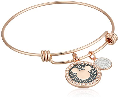 Disney Women's Rose Gold-Tone Stainless Steel Adjustable Bangle Bracelet with Silver Plated Mickey Laughter is Timeless Charm