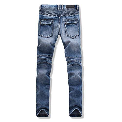 Blau Moderna Casual Skinny Destroyed Moda Denim Uomo Jeans Libero Pantaloni Stretch Retro Tempo Da Pants B16qnwf