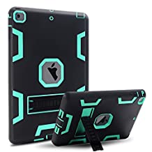iPad Air Case, MAKEIT 3in1 Defender Hybrid Shockproof Kickstand Case for iPad Air 2013 Model (C3-Black/Green)