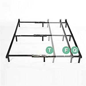 zinus compack adjustable steel bed frame for box spring mattress set fits twin to queen