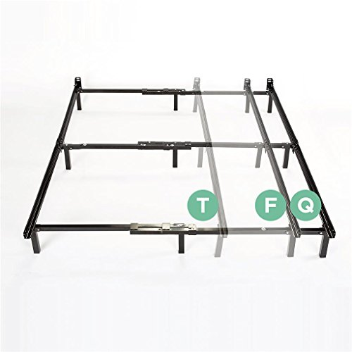 Queen Size Steel Bed (Zinus Compack Adjustable Steel Bed Frame, for Box Spring & Mattress Set, Fits Twin to Queen)