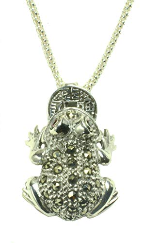 Marcasite Frog - Luxury Sterling Silver Marcasite Fortune Catching Frog 8.2g(26x20x10mm) Necklace