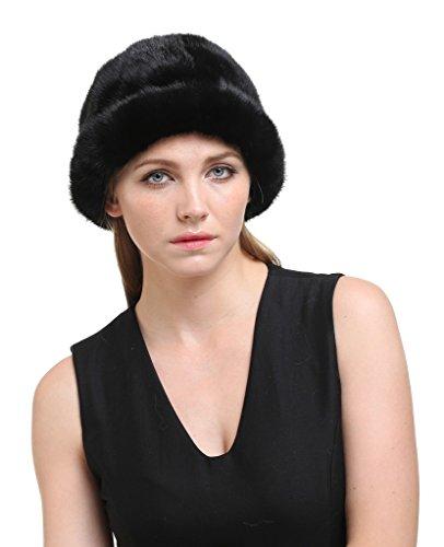 vogueearth Women'Real Mink Fur Winter Warmer Topper Hat (New Mink Fur Headband)