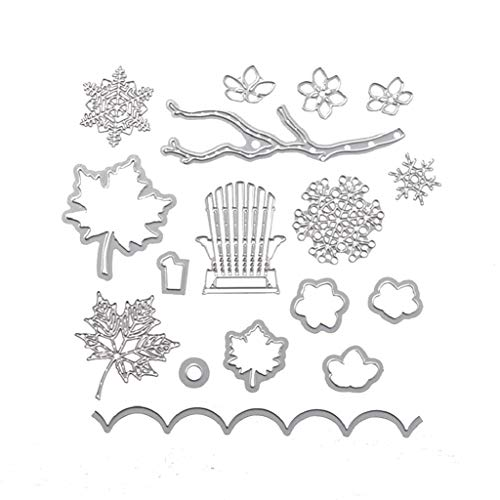 Metal Cutting Dies Embossing Stencil Template for DIY Scrapbook Album Paper Card Craft Decoration - Silver