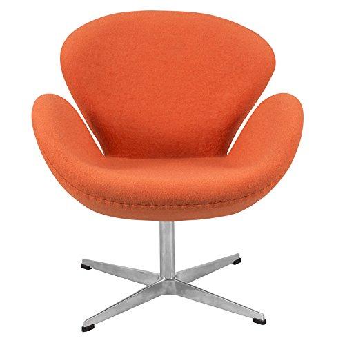 LeisureMod Arne Jacobsen Style Modern Swan Accent Chair in Orange Wool (Chair Finish Lounge Barrel)