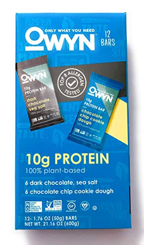 Owyn Only What You Need 100% Plant-Based Bars, 6 Dark Chocolate & Sea Salt, 6 Chocolate Chip Cookie Dough, 12 Bars (Variety Pack)