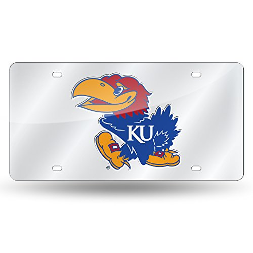 Rico Industries NCAA Kansas Jayhawks Laser Inlaid Metal License Plate Tag, Silver - Kansas License Plate