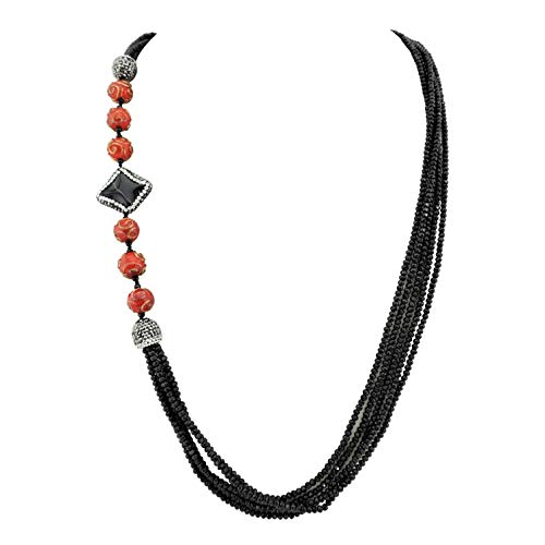 - Bocar Long Multiple Row Handmade Beaded Agate Statement 36