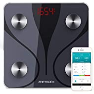 ZOETOUCH Bluetooth Body Fat Scale with iOS and Android App, Smart Digital Bathroom Weight Scale, Body Composition Monitor - Black