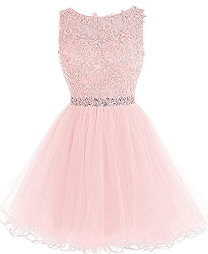 Dydsz Women's Short Prom Dress Homecoming Dresses Beaded Appliques Party Cocktail D126 LightPink (Beaded Short Dress Cocktail Dress)