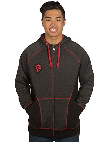 JINX World of Warcraft Men's Horde Classic Premium Zip-up Hoodie (Charcoal Heather, Med)