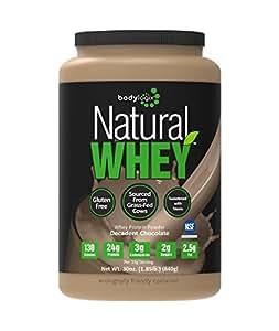 Bodylogix Natural Grass-Fed Whey Protein Powder, Decadent Chocolate, 1.85 Pound