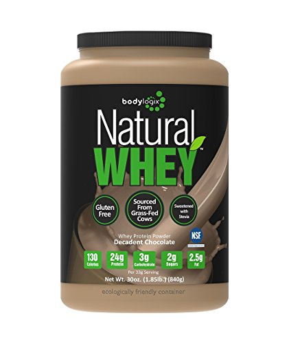 Bodylogix Natural Grass-Fed Whey Protein Powder, Decadent Chocolate, 1.85 Pound (Whey Protein Powder All Natural)