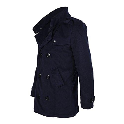 invierno doble la capa Hombres marino abrigo de delgado caliente chaqueta de de R pecho largo de SODIAL M Azul CzqwgX6