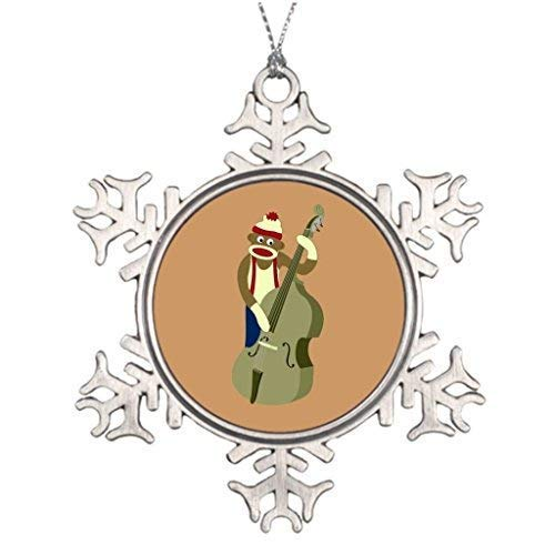 wonbye Christmas Ornaments 2018, Long Man Ideas for Decorating Sock Monkey Upright Bass Player Instrument Personalised Decorations Pattern Metal Snowflake Tree Decoration