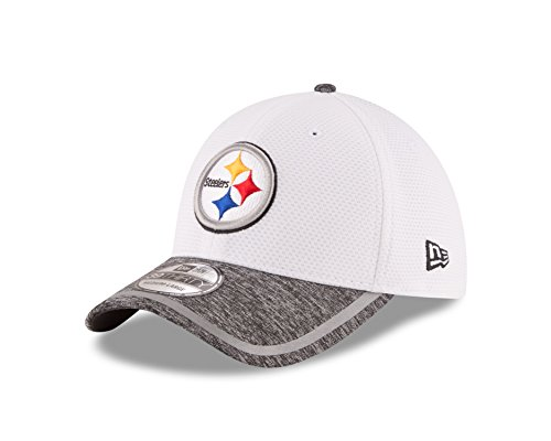 NFL Pittsburgh Steelers 2016 Training Camp Team Color 39THIRTY Stretch Fit Cap, Small/Medium, White/Gray Heather (Team Apparel Mesh Hat)