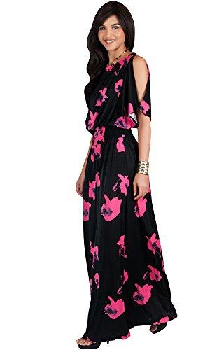 KOH KOH Womens Long Short Sleeve Floral Print Summer Sexy Casual Sundress Boho Bohemian Split Flowy Cute Sundresses Sun Gown Gowns Maxi Dress Dresses, Black and Pink M 8-10 (Dinner Cruise Dress)