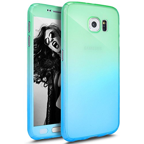 Price comparison product image Galaxy J7 Case with Tempered Glass Screen Protector,PHEZEN 360 Front and Back Full Body Coverage Shockproof Hybrid Hard PC Armor Protective Case For Samsung Galaxy J7 J700 (2015) (Gradient Green Blue)