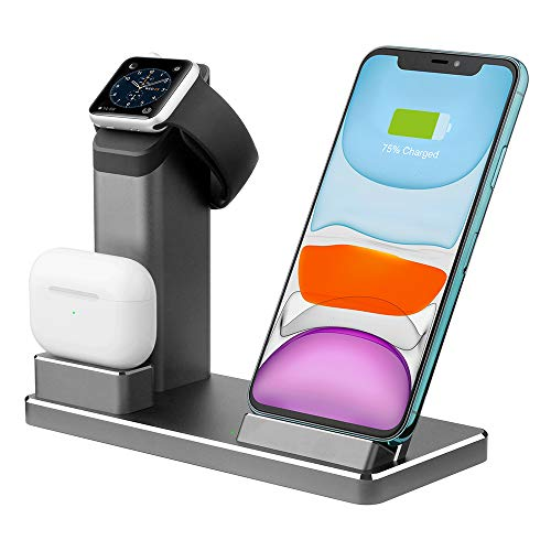 Wireless Charger. ZIKU 3 in 1 Aluminum Alloy Wireless Charging Stand Station Dock for Airpods/Airpods Pro Apple Watch 5/4/3/2 /1 iPhone11/ pro mas X/XS/XR/Xs Max/8/8 Plus- with USB C Adapter(Gray)