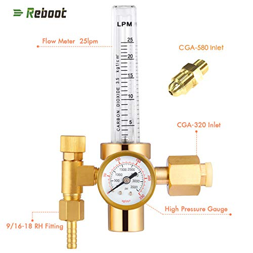 Argon Flowmeter Welding Regulator Gas Values Welding Accessory For Tig Welder with CO2 Adapter