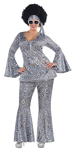Suit Yourself Dancing Queen Disco Costume for Adults, Plus Size, Includes a Matching Top, Flare Pants, and a Headscarf]()