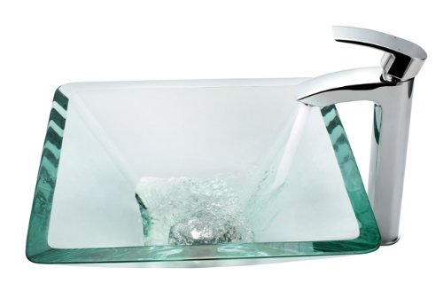- Kraus C-GVS-901-19mm-1810CH Clear Aquamarine Glass Vessel Sink and Visio Faucet Chrome