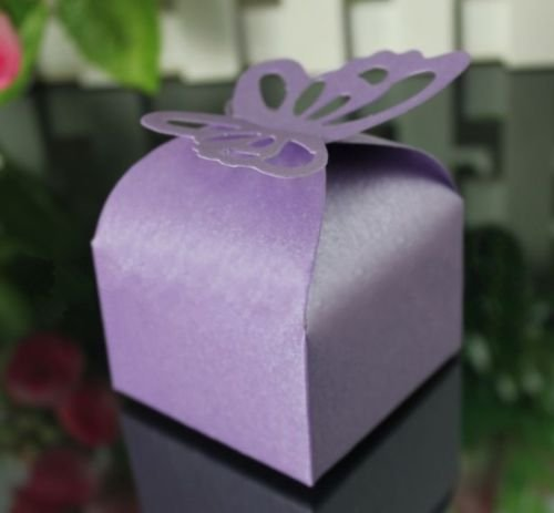 [The Pecan Man 50pcs Butterfly Candy Boxes Wedding Themed Gift Sweets Purple] (Easy But Cute Halloween Treats)