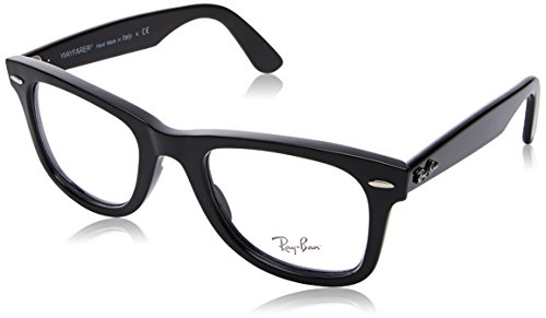 Ray-Ban RX4340V Wayfarer Eyeglass Frames, Shiny Black/Demo Lens, 50 ()