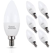 E12 LED Bulb 60Watts, Ambimall 6 Watt LED Candelabra Bulb Warm White 2700K 600Lumens Chandelier LED Light Bulbs Non Dimmable for Ceiling Fan(6 Pack)