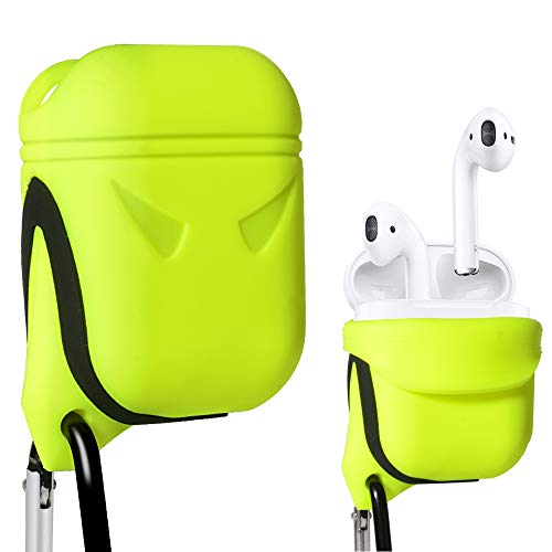 Alltravel Protective Cover for Airpods, Silicon Eco Skin, Shake, shock and water proof, Use with the skin on design, Easy to go Carabiner, Light weight and durable, (Green)