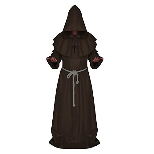 Men Medieval Hooded Robe Monks Witch Pastor Cloak Knight Fancy Cool Cosplay Halloween Party Costume Clothes Coffee