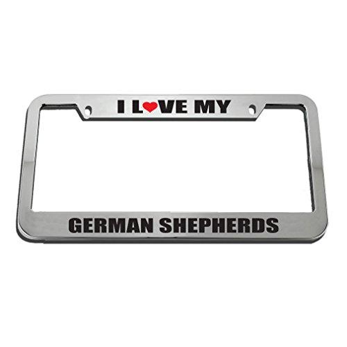 (Speedy Pros I Love German Shepherds License Plate Frame Tag Holder )