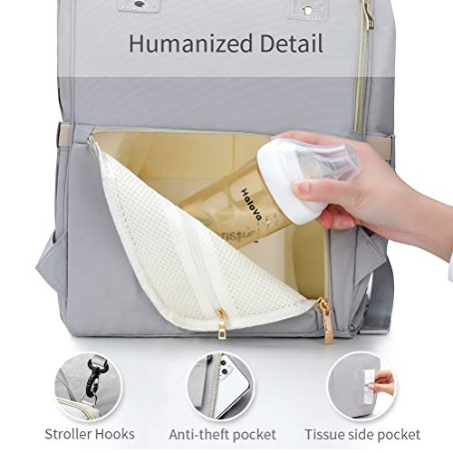 HaloVa Diaper Bag Multi-Function Waterproof Travel Backpack Nappy Bags for Baby Care, Large Capacity, Stylish and Durable, Greyish